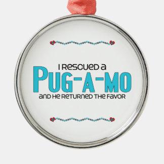 Rescaté un diseño de la adopción del perro adorno redondo plateado
