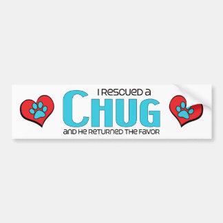 Rescaté un diseño de la adopción del perro del Chu Etiqueta De Parachoque