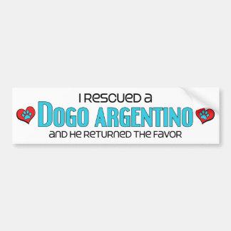 Rescaté un Dogo Argentino (el perro masculino) Etiqueta De Parachoque