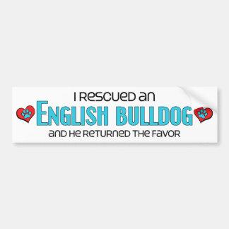 Rescaté un dogo inglés el perro masculino pegatina de parachoque