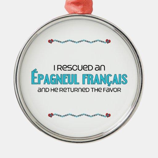 Rescaté un Épagneul Français (el perro masculino) Ornamentos De Navidad
