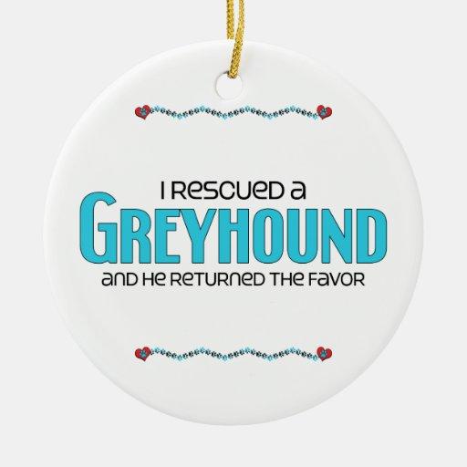 Rescaté un galgo (el perro masculino) adorno navideño redondo de cerámica