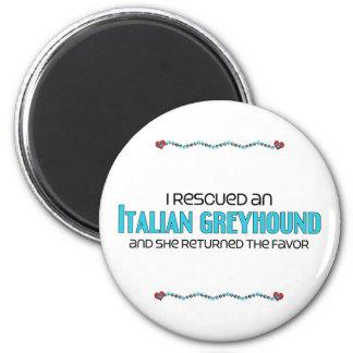 Rescaté un galgo italiano (el perro femenino) imán redondo 5 cm