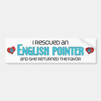Rescaté un indicador inglés el perro femenino pegatina de parachoque