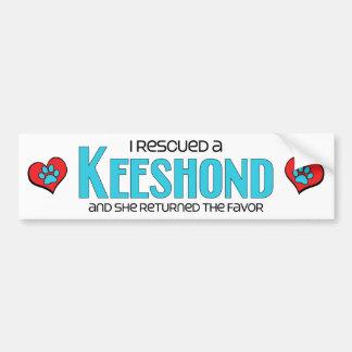 Rescaté un Keeshond (el perro femenino) Pegatina Para Auto