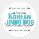 Rescaté un perro coreano de Jindo (el perro Pegatina Redonda