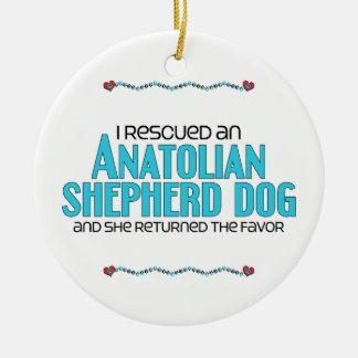 Rescaté un perro de pastor de Anatolia (el perro Adorno Navideño Redondo De Cerámica