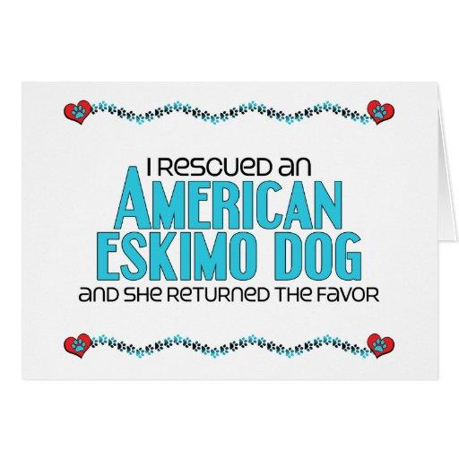 Rescaté un perro esquimal americano (el perro feme tarjeta de felicitación