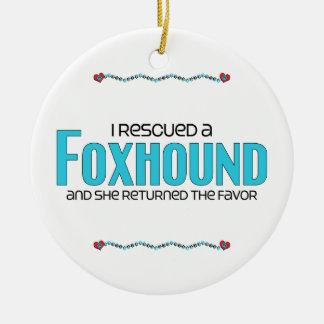 Rescaté un raposero el perro femenino adornos de navidad