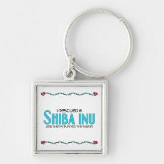 Rescaté un Shiba Inu (el perro femenino) Llavero Cuadrado Plateado