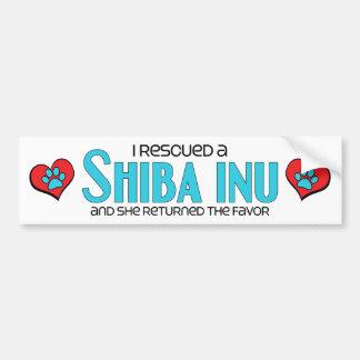 Rescaté un Shiba Inu (el perro femenino) Pegatina Para Auto