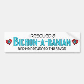 Rescaté una adopción del perro de Bichon-A-Ranian  Pegatina Para Auto