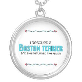 Rescaté una Boston Terrier (el perro femenino) Colgante Redondo