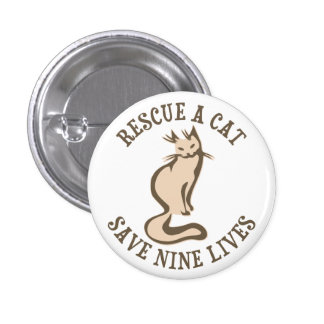 Rescate una reserva del gato nueve vidas pin redondo de 1 pulgada