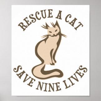 Rescate una reserva del gato nueve vidas póster