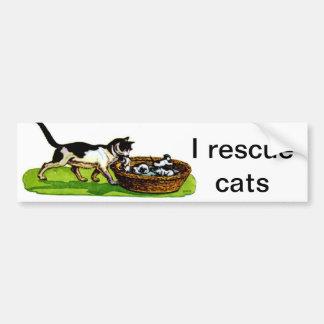 Rescato gatos pegatina para auto