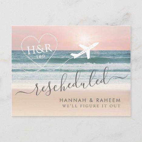 Rescheduled Beach Wedding Notification Postcard