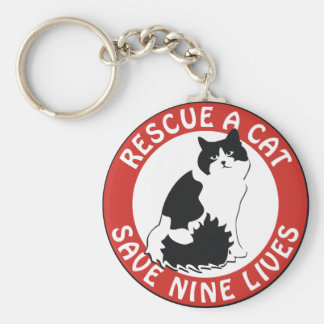Rescue a Cat, Save Nine Lives Keychain