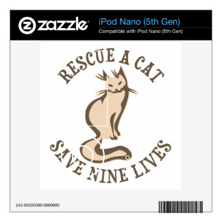 Rescue A Cat Save Nine Lives iPod Nano Decals