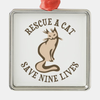 Rescue A Cat Save Nine Lives Square Metal Christmas Ornament