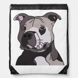 Rescue American Bulldog Pit Bull Terrier Portrait Drawstring Backpack