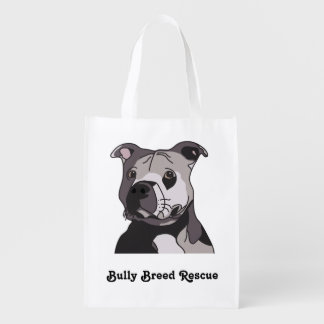 Rescue American Bulldog Pit Bull Terrier Portrait Reusable Grocery Bags
