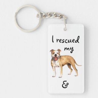Rescue American Pit Bull Terrier Double-Sided Rectangular Acrylic Keychain