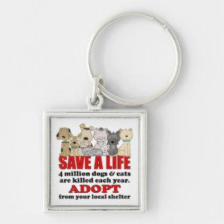 Rescue Animals Silver-Colored Square Keychain