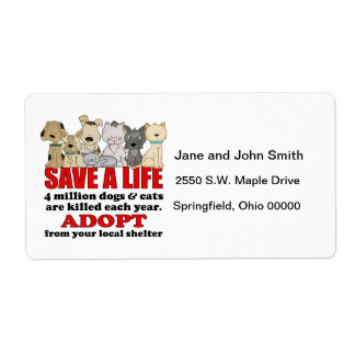 Rescue Animals Personalized Shipping Labels