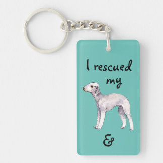 Rescue Bedlington Terrier Double-Sided Rectangular Acrylic Keychain
