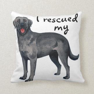 Rescue Black Lab Throw Pillow