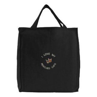 Rescue Cats Funny Embroidered Tote Bag