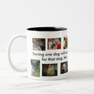 Rescue Changes a Dog's World Two-Tone Coffee Mug