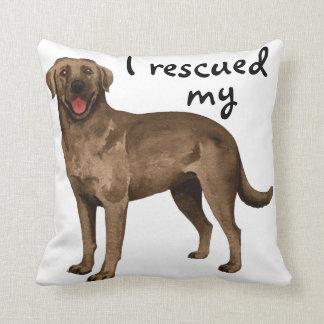 Rescue Chocolate Lab Throw Pillow