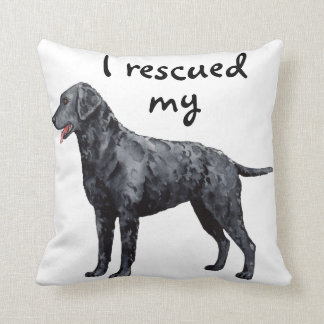 Rescue Curly-Coated Retriever Throw Pillow