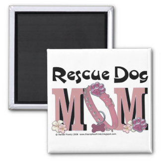 Rescue Dog MOM 2 Inch Square Magnet