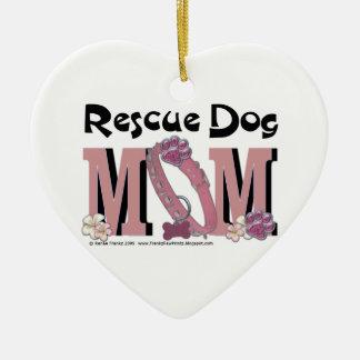 Rescue Dog MOM Ceramic Ornament