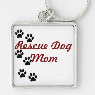 Rescue Dog Mom Silver-Colored Square Keychain