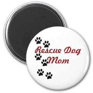 Rescue Dog Mom 2 Inch Round Magnet