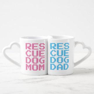 RESCUE DOG MOM + RESCUE DOG DAD Lovers' Mug Set