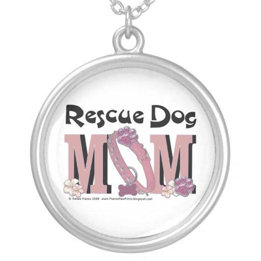 Rescue Dog MOM Round Pendant Necklace