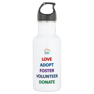 Rescue Dog Water Bottle, Love Adopt Volunteer Water Bottle