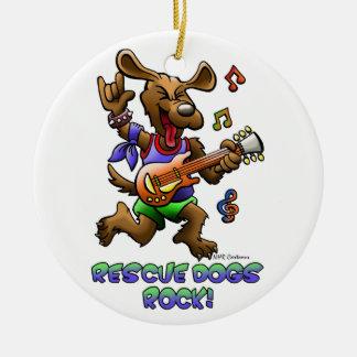 RESCUE DOGS ROCK CERAMIC ORNAMENT