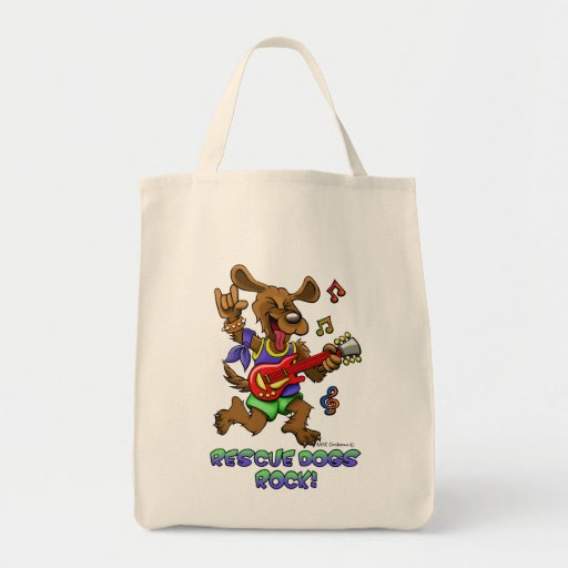 RESCUE DOGS ROCK GROCERY TOTE BAG