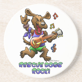 RESCUE DOGS ROCK SANDSTONE COASTER