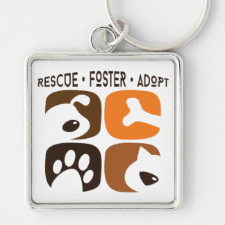 Rescue Foster Adopt Large Prem. Square Keychain
