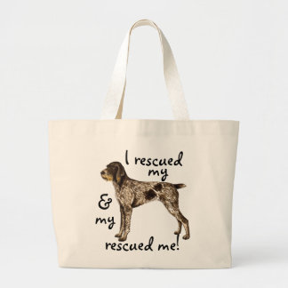 Rescue German Wirehaired Pointer Large Tote Bag