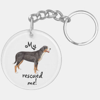 Rescue Greater Swiss Mountain Dog Double-Sided Round Acrylic Keychain