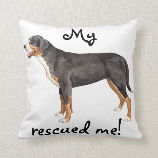 Rescue Greater Swiss Mountain Dog Throw Pillow