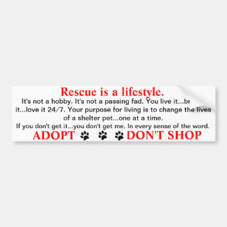 Rescue is a lifestyle car bumper sticker